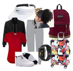 Travel by sydfire05 on Polyvore featuring polyvore MICHAEL Michael Kors LE3NO T By Alexander Wang NIKE JanSport fashion style clothing