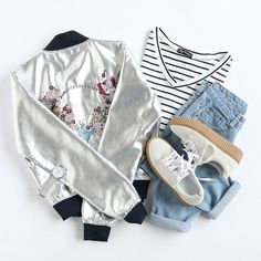 Shop Silver Butterfly Embroidery Contrast Trim Jacket at ROMWE, discover more fashion styles online. Teen Fashion Outfits, Swag Outfits, Cute Casual Outfits, Girl Outfits, Womens Fashion, Ootd Fashion, Kawaii Clothes, Teenager Outfits, Fashion Pictures