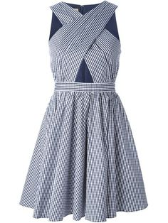 Shop Michael Kors crossed front gingham flared dress  in  from the world's best independent boutiques at farfetch.com. Shop 400 boutiques at one address.
