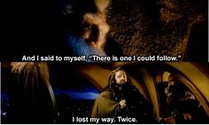Let's all follow Thorin. Oh yes, that sounds like a MARVELOUS idea. Hopefully we won't get lost in Mirkwood or something. Oh wait.... (JK, I'd totally follow Thorin).