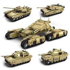Army Model Tanks 4 In 1 Assemblage Building Blocks Set Compatible Legoed military weapon tank DIY Bricks Children Toys Lego Ww2 Tanks, Legos, Lego Track, Armadura Cosplay, Military Weapons, Military Tank, Model Tanks, Model Building Kits, Lego War