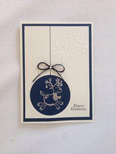 Christmas card, handmade card, snowflakes, Merry Christmas, blue, deer, silver