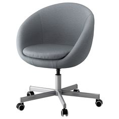 IKEA SKRUVSTA Swivel chair Flackarp medium grey You sit comfortably since the chair is adjustable in height. Grey Desk Chair, Diy Chair, Chaise Ikea, Chair Makeover, Bedroom Chair, Accent Chairs For Living Room, Affordable Furniture, Chairs For Sale, Cool Chairs