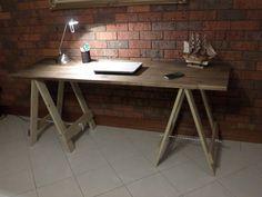Industrial Vintage Rustic Wooden Trestle Table (Walnut). found on ebay.com.au by jos_0003