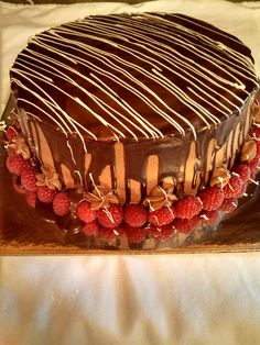 Sponge cake with Chocolate Ganache and fresh raspberry filling created by Alicia @ Phat N Sassy Sweets