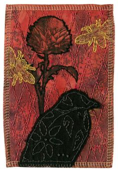 burgundy red black crow raven nature thistle bee embroidery ooak art quilt gift print holiday