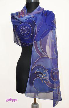 Abstract Hand Painted Silk Scarf/Shawl Painted silk/Luxury silk gift/Painted by hand silk accessory/Royal blue silk shawl/Woman Chiffon Scarf, Silk Chiffon, Bleu Royal, Royal Blue, Painted Silk, Hand Painted, Silk Art, Silk Shawl, Scarf Design