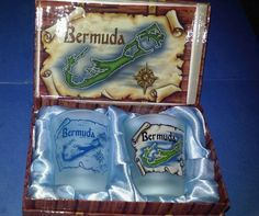 Lot of Two Bermuda Caribbean Frosted Souvenir Shot Glass