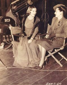 Joan Fontaine gets a visit from her sister Olivia de Havilland on the set of Jane Eyre 1943