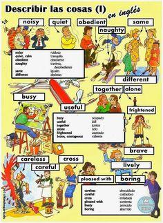 2ª FICHA PARA APRENDER FÁCILMENTE cómo se describen en inglés las cosas. La ficha, además de un diseño a color bien detallado, con...
