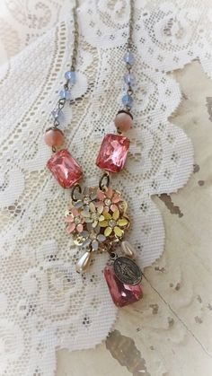Shabby Chic Assemblage Necklace Pastel by BerthaLouiseDesigns