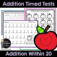Addition Timed Tests- Adding Within Math Fact Fluency Speed Drills with student and teacher record charts Addition Facts, Math Addition, Second Grade Math, 4th Grade Math, Common Core Math, Common Core Standards, Addition Flashcards, Math Fact Fluency, Speed Drills