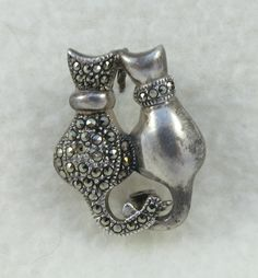 Vintage Sterling Silver Two Cats Sitting Marcasite Brooch Pin by Framarines on Etsy