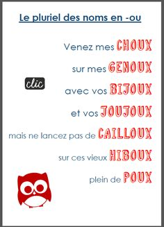 Educational infographic : Plural of French Nouns: le pluriel des noms en -ou French Nouns, French Grammar, Learn Russian, Learn French, French Teacher, Teaching French, Core French, Plural Nouns, French Classroom