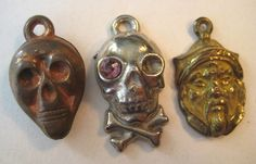 VINTAGE Metal Clad SCARY FACE Gumball Charm Prize Lot of 3 Skull | eBay