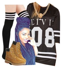 """The Trill Dolls Performance (Ariana outfit)"" by trillest-queen ❤ liked on Polyvore featuring moda, Forever 21 e Timberland"