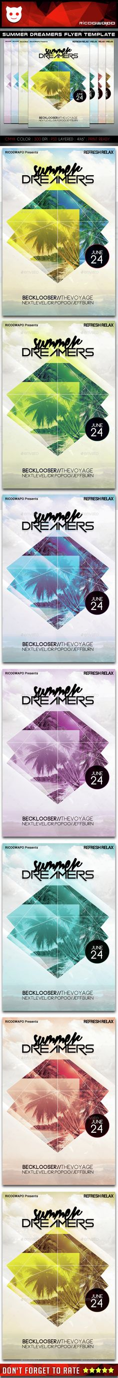 Summer Dreamers Flyer Template,alien, breakdance, colors, computer, dance, dj, drum bass, dubstep, electro, festival, flyer, graphic, hip hop, hot, house, indie, love, model, nightclub, party, peace, psd, ricogwapo, rock, speaker, summer, techno, template, underground, urban