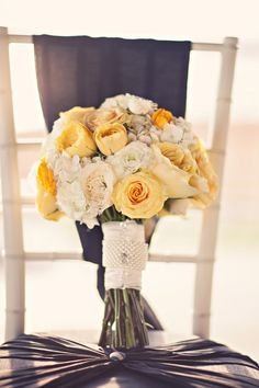 wedding flowers yellow rose blue hydrangea - Google Search