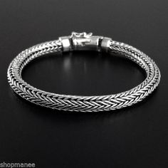 HANDMADE-STERLING-SILVER-METAL-PURITY-925-WOVEN-BRACELETS-8-25CLASSIC-CHAIN