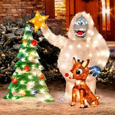 Recreate a classic TV scene from Rudolph the Red-Nosed Reindeer with our Rudolph and Bumble Outdoor Christmas Decorations. The Christmas decoration is a holiday favorite. Christmas Yard Decorations, Christmas Lights, Christmas Holidays, Christmas Crafts, Christmas Ornaments, Christmas Ideas, Merry Christmas, Christmas 2017, Outdoor Decorations