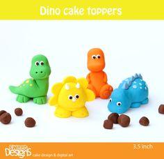 3d 4 Dinosaur Fondant Toppers.