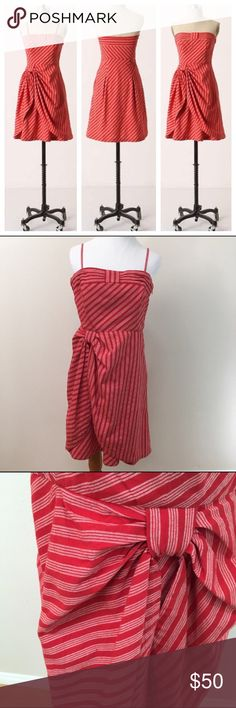Lil Anthro Blazing Rays Red Striped Dress Size 12 Lil Anthropologie Blazing Rays Red Striped Strapless Bow Dress Size 12. Great condition! Can wear with or without straps. Side hidden zipper. See photos to confirm condition. Clean and comes from smoke free home. Questions welcomed. Anthropologie Dresses Strapless