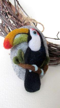 Needle felted Toucan brooch.Felt  birds Felt brooch Bird brooch Gift for her