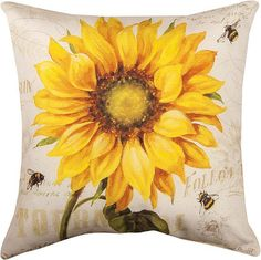 "DECORATIVE PILLOWS - PROVENCAL SUNFLOWER PILLOW - 18"" SQUARE - INDOOR OUTDOOR"