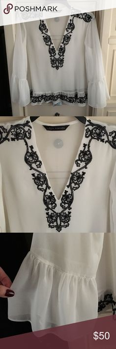 Zara v-neck blouse with ruffle bottom and neckline Zara V-neck georgette blouse with beautiful embroidery at shoulder, neckline and hem. The sleeves have a shirred bell style and ruffle hemline. Also self fabric lining. Zara Tops Blouses