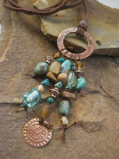 Gemstone Neckalce Turquoise and Antiqued Copper by esdesigns65, $50.00