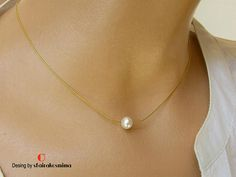 Single Pearl Necklace Rose Gold Yellow Gold Sterling Silver