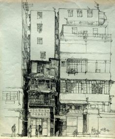Hand Sketch of Kowloon Walled City