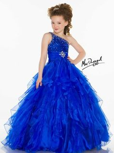 Hot Sell   Beaded Floor-Length   One Shoulder  Pageant Dress Flower Girl Dress   #Handmade