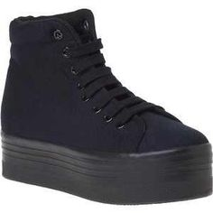 Jeffrey Campbell Homg Platform Sneaker Black Canvas - Jildor Shoes, Since 1949 New Sneakers, Sneakers Fashion, All Black Sneakers, High Top Sneakers, Wearing All Black, Platform Sneakers, Black Canvas, Grunge Fashion, Bridal Shoes