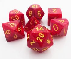 Be the hero of your next RPG adventure with a set of Vortex Dice (Red). This set contains all the classic polyhedral dice: d4, d6, d8, d10, d%, d12, and d20. Each Vortex die is polished to a gloss fin