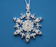 "Stunning Sparkler - ""Lighting up the World"" Stellar Dendrite Snowflake – Quilled / Filigree in Bright White - Christmas Tree Ornament"