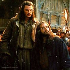 Thorin and Bard. Never realized how short Thorin is until I saw him standing next to Bard. lol