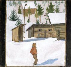 File:Hugo Simberg - Winter - A II - Finnish National Gallery. North Europe, Finland, Folk, History, House Styles, Gallery, Winter, Illustration, Image