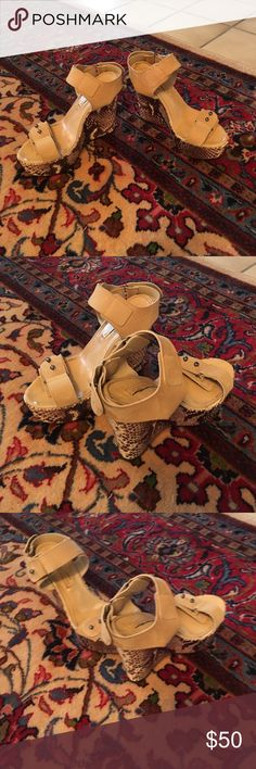 BCBG tan wedges/shoes BCBG tan swede wedges/shoes BCBG Shoes Wedges