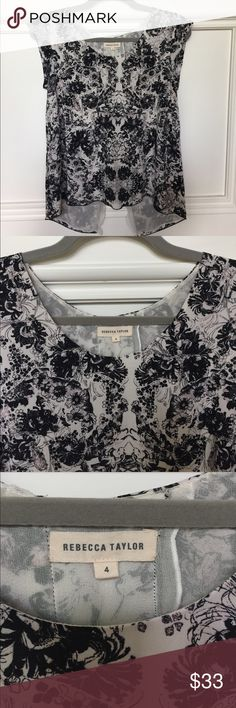 Rebecca Taylor Blouse sz 4 silk black/cream Rebecca Taylor cap sleeve Blouse sz 4, silk, lined, black/cream. Like new, only worn a few times. Rebecca Taylor Tops Blouses