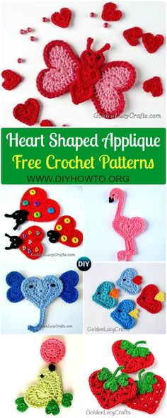 List of Crochet Heart Shaped Applique Free Patterns By Golden Lucy Crafts: Heart Animal Applique, Valentine Heart Applique, Heart Fruit, Flower, Tree, Bird and more via @diyhowto
