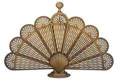 Brass Fan Fireplace Screen on Chairish.com