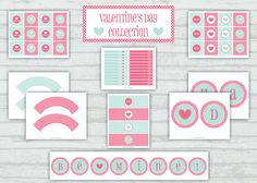 FREE Valentine's Day Printable Party Package via Paige Simple Studio (Pink, Aqua, Heart, Polka Dot)