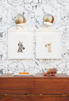 cute lamps. animals by photographer Sharon Montrose. wallpaper from anthropolgie via A CUP OF JO