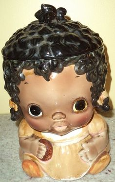 Old Sears Little Black Girl Cookie jar African American Black Americana Mammy~Jazz'e Junque ~ www.jazzejunque.com