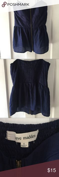 Steve Madden Zip Halter Deep Navy, front zippering halter. Super adorable and fun for a night out! Soft light material padded bra inserts so you don't have to wear one! Stretchy back, Worn only once to a friend's party. Steve Madden Tops