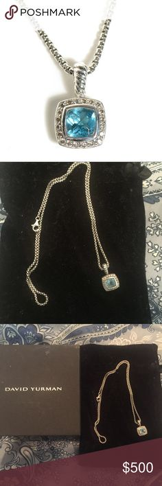 David Yurman Petite Albion Necklace Blue Topaz Just getting rid of ex boyfriend jewelry! This necklace is fabulous though, no visible flaws, blue topaz and diamonds. David Yurman Jewelry Necklaces