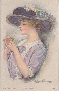 Clarence Underwood postcard ~ lady in purple