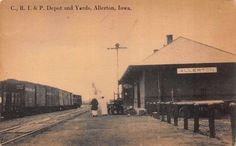 Postcard C. R.I. & P. Railroad Depot and Yards in Allerton, Iowa~112973
