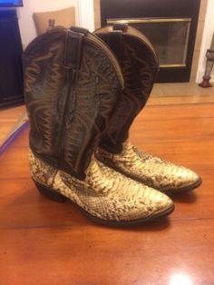 Justin Western Python Snake Skin Cowboy Boots Size 12D
